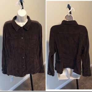 JM Collection Brown corduroy button sz 14 jacket
